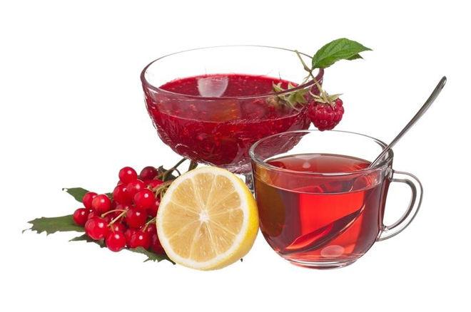 чай с лимоном и калиной