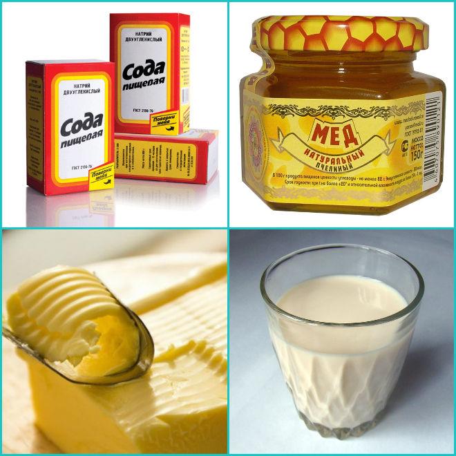 Масло с мёдом, содой и молоком