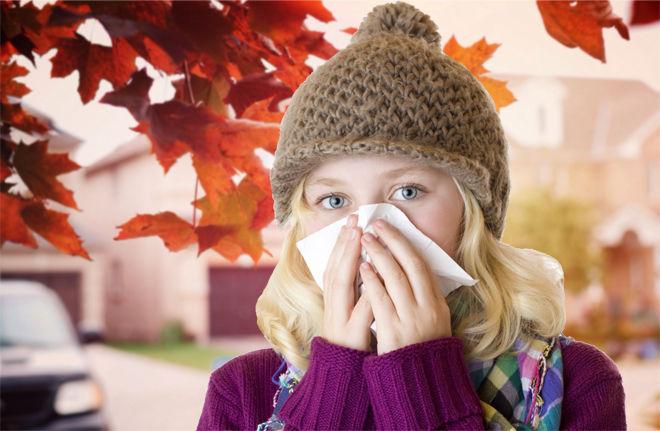 Во время простуды бывает насморк